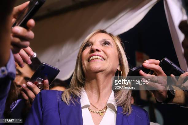 Beatriz Argimon, Vice Presidential candidate for the National Party speaks to press after the election. The National party and the Frente Amplio...