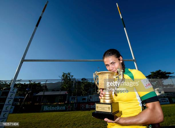 Beatriz Baby of Brazil celebrate the title of the Rio Sevens 2013 South American Championship and vacant for the Rugby World Cup Sevens 2013 at the...