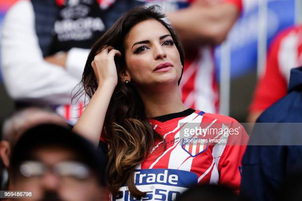 Beatriz Espejel girlfriend of Koke of Atletico Madrid during the UEFA Europa League match between Olympique Marseille v Atletico Madrid at the Parc...