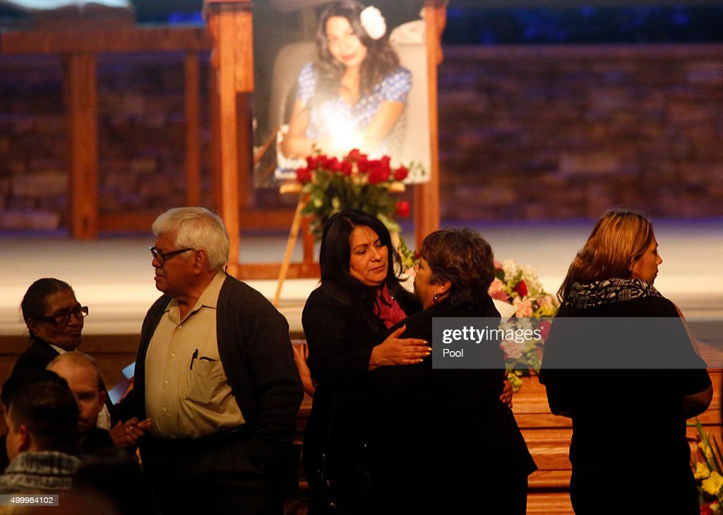 Beatriz Gonzalez (C), mother of Nohemi Gonzalez, a victim of the Paris attacks, attends her daughter's funeral services at the Calvary Chapel on December 4, 2015, in Downey, California. Nohemi Gonzalez was the 23 year-old Cal State Long Beach student who was killed while dining with friends at a bistro in Paris last month. Gonzalez, from El Monte, was a senior majoring in industrial design and one of 17 CSULB students attending Strate School of Design in Paris as part of a study abroad program. She was one of 129 people killed in the coordinated attacks.