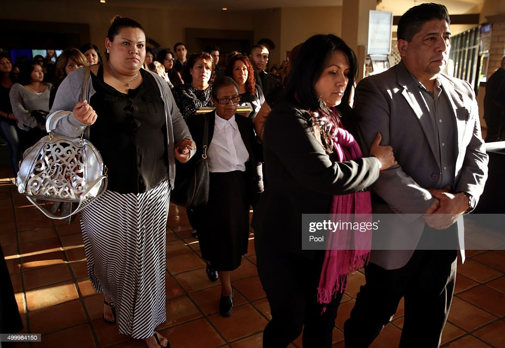 Beatriz Gonzalez, mother of Paris attack victim Nohemi Gonzalez, and husband Jose Hernandez follow the casket for their daughter at the end of the funeral service on December 4, 2015 in Downey, California. Nohemi Gonzalez was the 23 year-old Cal State Long Beach student who was killed while dining with friends at a bistro in Paris last month. Gonzalez, from El Monte, was a senior majoring in industrial design and one of 17 CSULB students attending Strate School of Design in Paris as part of a study abroad program. She was one of 129 people killed in the coordinated attacks.