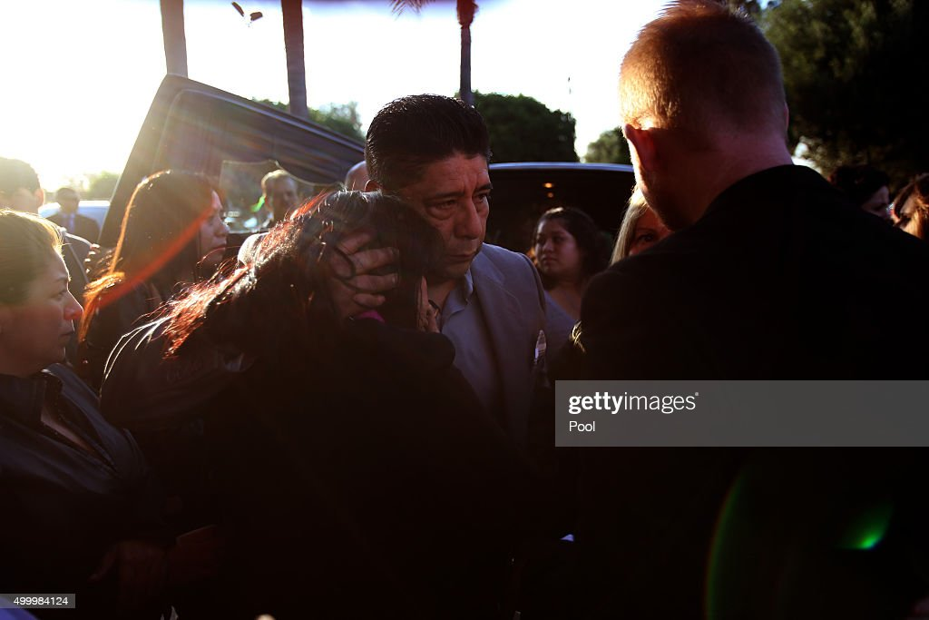 Beatriz Gonzalez, mother of Paris attack victim Nohemi Gonzalez, puts her head against husband Jose Hernandez's shoulder at the end of her daughter's funeral at the Calvary Chapel on December 4, 2015 in Downey, California. Gonzalez, 23, was one of 17 Cal State Long Beach students attending Strate School of Design in Paris as part of a semester abroad program when the coordinated attacks that killed 129 people erupted in multiple locales, including the Bataclan theater.