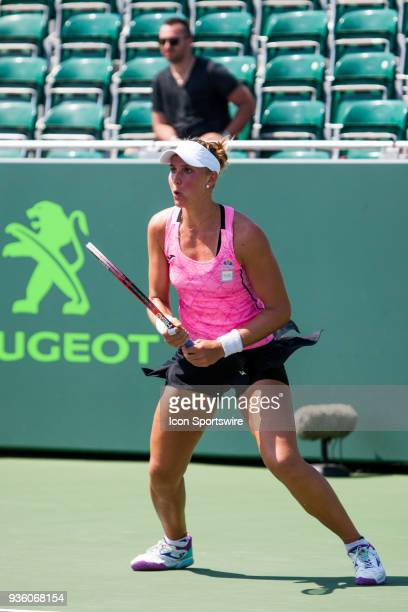 Beatriz Haddad Maia competes during the qualifying round of the 2018 Miami Open on March 20 at Tennis Center at Crandon Park in Key Biscayne FL