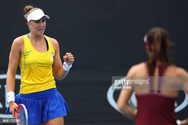 Beatriz Haddad Maia of Brazil and Sorana Cirstea of Romania compete in their third round women's doubles match against Barbora Strycova of the Czech...