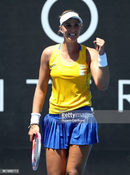 Beatriz Haddad Maia of Brazil celebrates after defeating Lizette Cabrera of Australia during her singles match on Day One of 2018 Hobart...