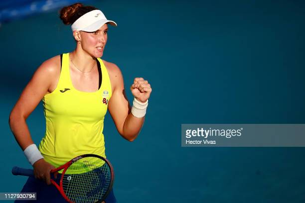 Beatriz Haddad Maia of Brazil celebrates after winning the match against Sloane Stephens of United States as part of the day 3 of the Telcel Mexican...