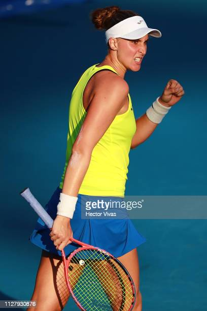Beatriz Haddad Maia of Brazil celebrates during the match against Sloane Stephens of United States as part of the day 3 of the Telcel Mexican Open...