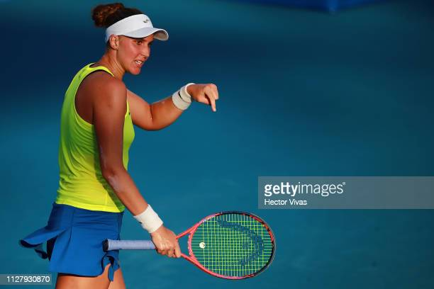 Beatriz Haddad Maia of Brazil gestures during the match against Sloane Stephens of United States as part of the day 3 of the Telcel Mexican Open 2019...