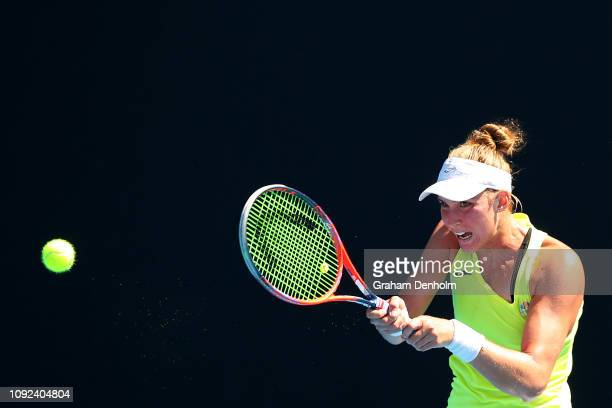 Beatriz Haddad Maia of Brazil plays a backhand in her match against Jennifer Brady of the United States during Qualifying ahead of the 2019...