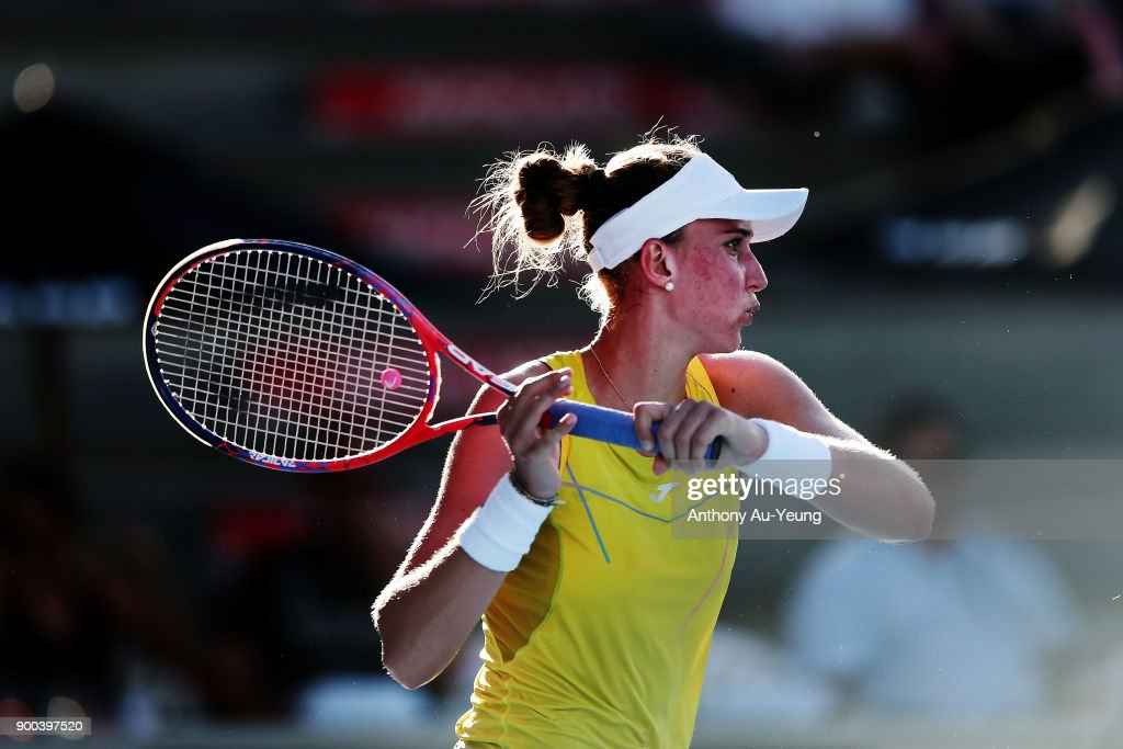 Beatriz Haddad Maia of Brazil plays a forehand in her first round match against Agnieszka Radwanska of Poland during day two of the ASB Women's Classic at ASB Tennis Centre on January 2, 2018 in Auckland, New Zealand.