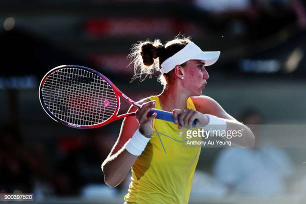 Beatriz Haddad Maia of Brazil plays a forehand in her first round match against Agnieszka Radwanska of Poland during day two of the ASB Women's...