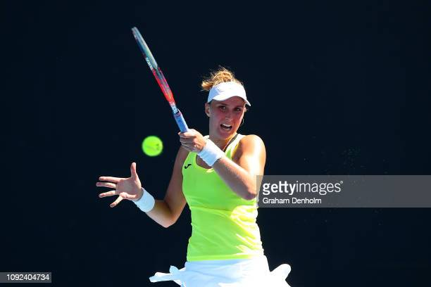 Beatriz Haddad Maia of Brazil plays a forehand in her match against Jennifer Brady of the United States during Qualifying ahead of the 2019...