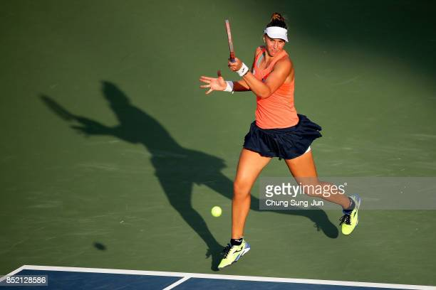 Beatriz Haddad Maia of Brazil plays a shot against Richel Hogenkamp of Netherlands during day six of the KEB Hana Bank Incheon Airport Korea Open at...