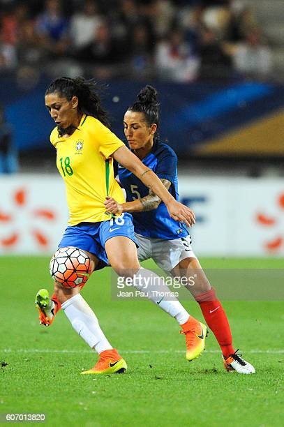 Beatriz JOAO of Brazil and Kelly GADEA of France during the International friendly match between France women and Brazil women on September 16 2016...