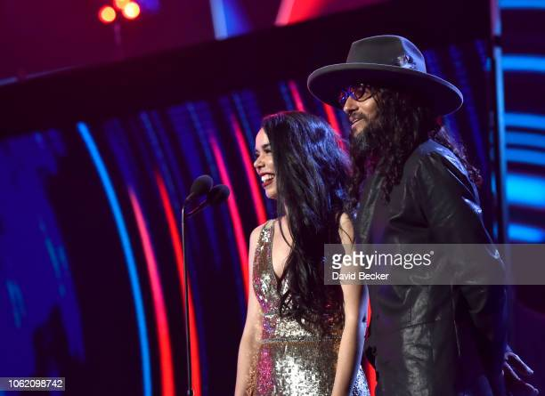 Beatriz Luengo and Draco Rosa speak onstage during the 19th annual Latin GRAMMY Awards at MGM Grand Garden Arena on November 15 2018 in Las Vegas...