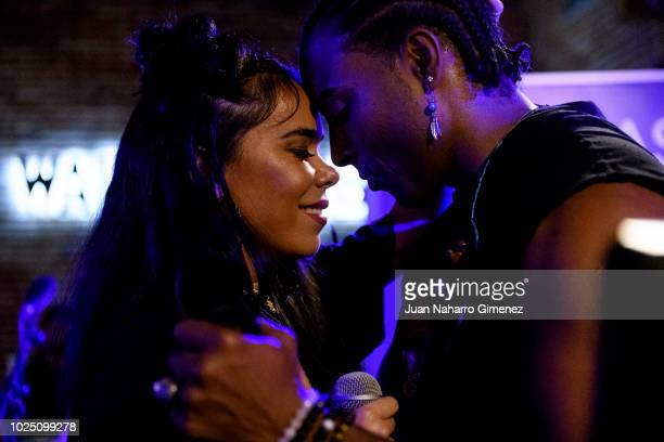 Beatriz Luengo and Yotuel Romero of Orishas music band performs on stage on August 29 2018 in Madrid Spain