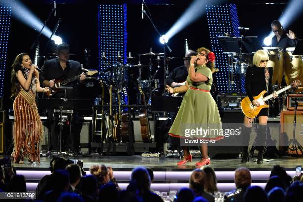 Beatriz Luengo La Marisoul and Orianthi perform onstage at the Person of the Year Gala honoring Mana during the 19th annual Latin GRAMMY Awards at...