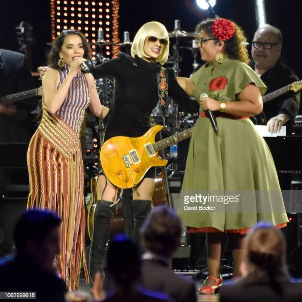 Beatriz Luengo Orianthi and La Marisoul perform onstage at the Person of the Year Gala honoring Mana during the 19th annual Latin GRAMMY Awards at...