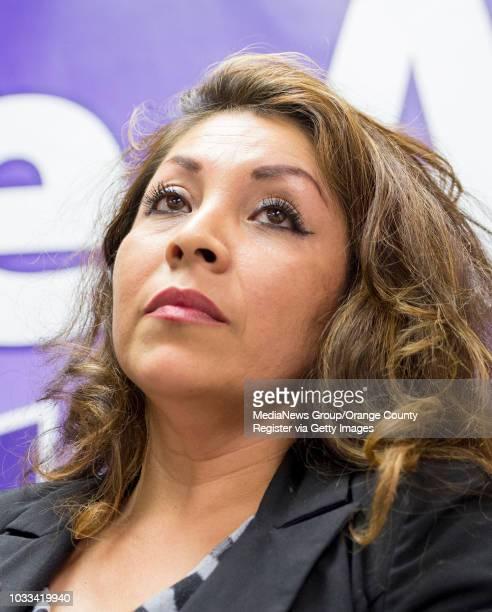 Beatriz Mendoza a field representative for US Rep Loretta Sanchez who is running for the Santa Ana Unified School District school board appeared...