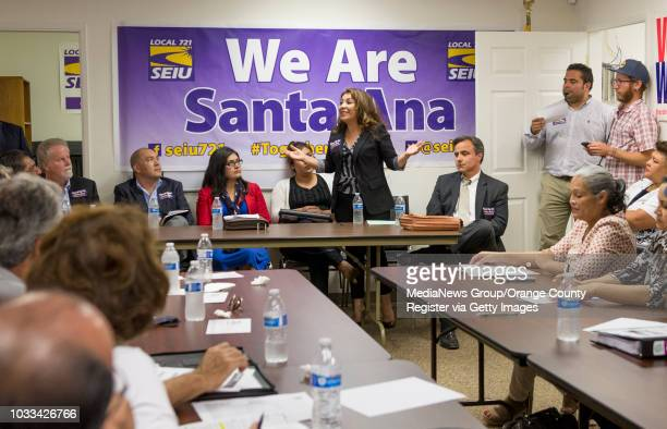 Beatriz Mendoza top standing a field representative for US Rep Loretta Sanchez who is running for the Santa Ana Unified School District school board...