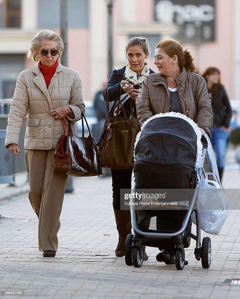 Beatriz Mira (C), her mother-in-law Carmen Garaizabal (L) and her newborn Alvaro Fuster are seen on November 14, 2012 in Madrid, Spain.