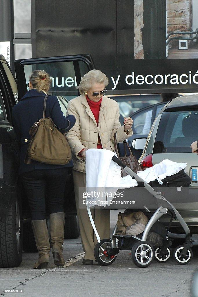 Beatriz Mira, her mother-in-law Carmen Garaizabal and her newborn Alvaro Fuster are seen on November 14, 2012 in Madrid, Spain.