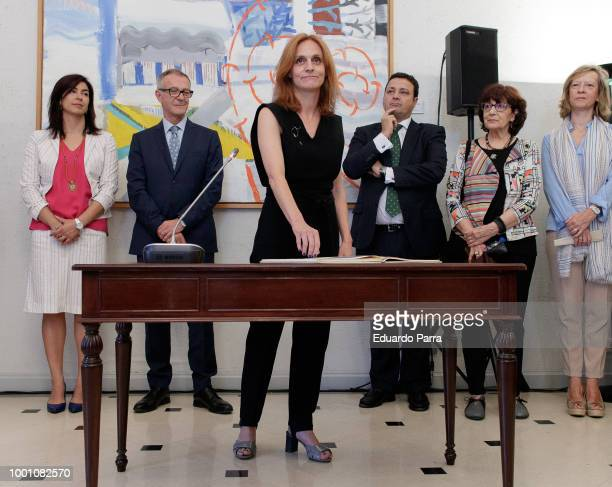 Producer Agustin Almodovar and Beatriz Navas attend the presentation of the new General Director of the Institute of Cinematography and the...