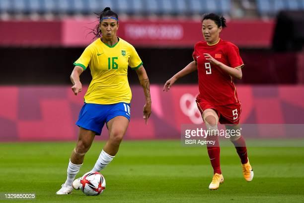 Beatriz of Brazil and Siwen Miao of China during the Tokyo 2020 Olympic Football Tournament match between China and Brazil at Miyagi Stadium on July...