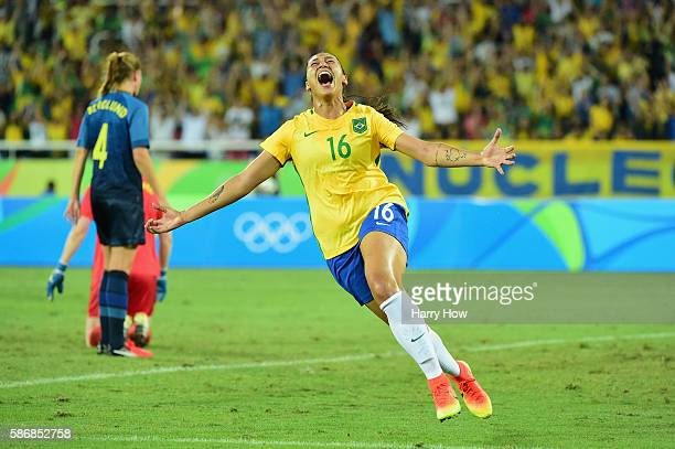 Beatriz of Brazil celebrates her goal during the Women's Group E first round match between Brazil and Sweden on Day 1 of the Rio 2016 Olympic Games...