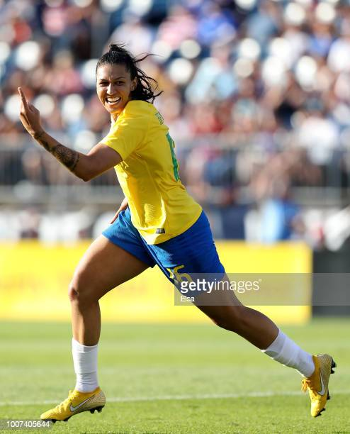 Beatriz of Brazil celebrates her goal in the second half against Japan during the 2018 Tournament of Nations at Pratt Whitney Stadium on July 29 2018...