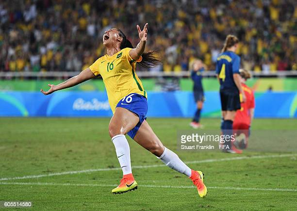 Beatriz of Brazil celebrates scoring her goal during the Olympic Women's Football match between Brazil and Sweden at Olympic Stadium on August 6 2016...