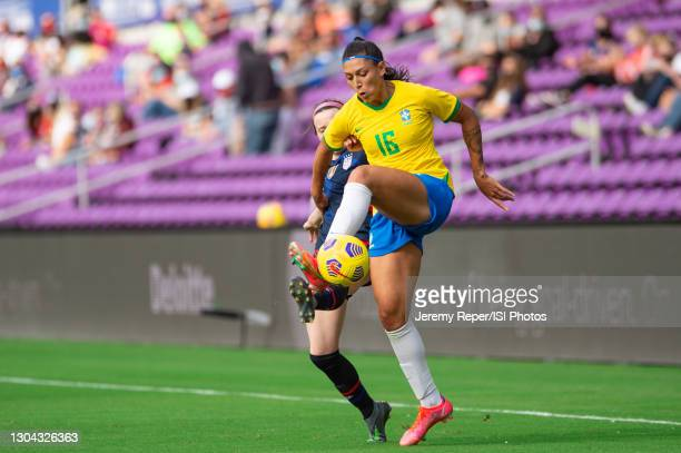 Beatriz of Brazil controls the ball during a game between Brazil and USWNT at Exploria Stadium on February 21, 2021 in Orlando City, Florida.