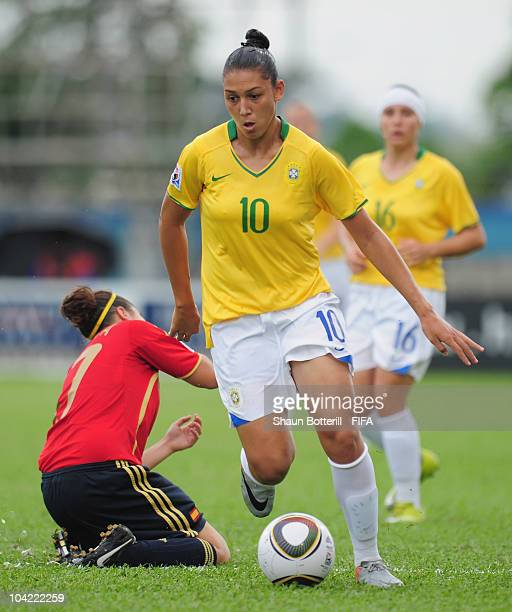 Beatriz of Brazil in action during the FIFA U17 Women's World Cup Quarter Final match between Spain and Brazil at the Ato Boldon Stadium on September...