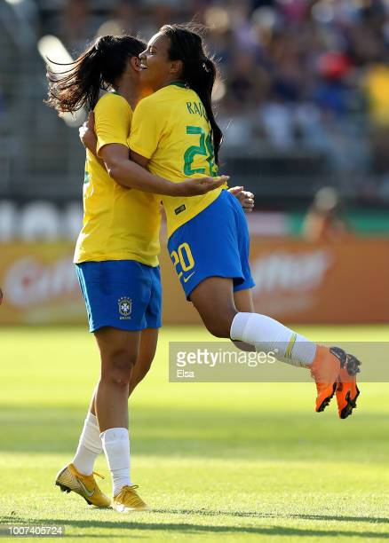 Beatriz of Brazil is congratulated by teammate Raquel after she scored a goal in the second half against Japan during the 2018 Tournament of Nations...