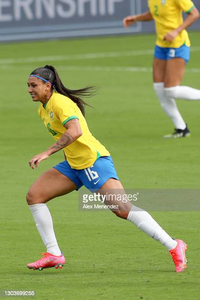 Beatriz of Brazil plays against the United States during the SheBelieves Cup at Exploria Stadium on February 21, 2021 in Orlando, Florida.