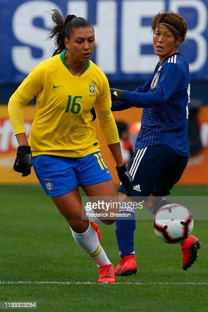 Beatriz of Brazil plays during the 2019 SheBelieves Cup match between Brazil and Japan at Nissan Stadium on March 2 2019 in Nashville Tennessee