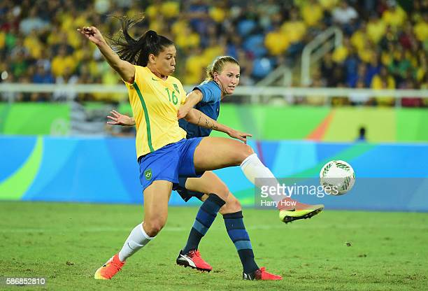 Beatriz of Brazil scores a goal during the Women's Group E first round match between Brazil and Sweden on Day 1 of the Rio 2016 Olympic Games at the...
