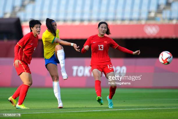 Beatriz of Team Brazil shoots during the Women's First Round Group F match between China and Brazil during the Tokyo 2020 Olympic Games at Miyagi...