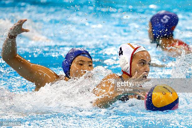 Beatriz Ortiz Munoz of Spain in action during the Women's 5th8th Place classification match between Spain and China at Olympic Aquatics Stadium on...