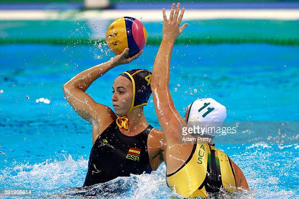 Beatriz Ortiz Munoz of Spain in action during the Women's Water Polo 5th 6th Classification match between Australia and Spain on Day 14 of the Rio...