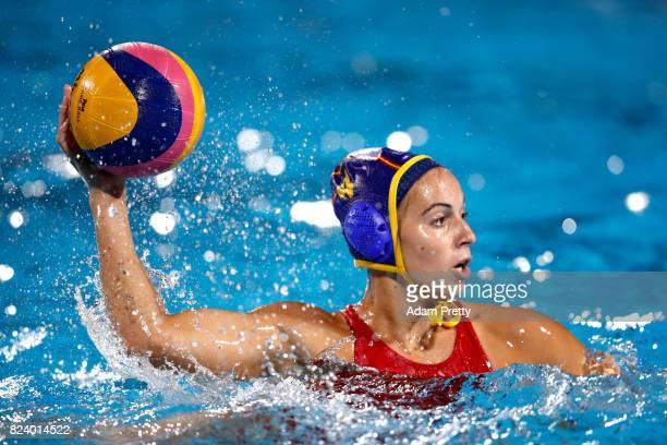 Beatriz Ortiz Munoz of Spain in action during the Women's Water Polo gold medal match between the United States and Spain on day fifteen of the...