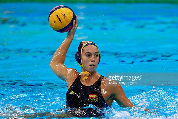 Beatriz Ortiz Munoz of Spain throws the ball during the Women's Water Polo 5th 6th Classification match between Australia and Spain on Day 14 of the...