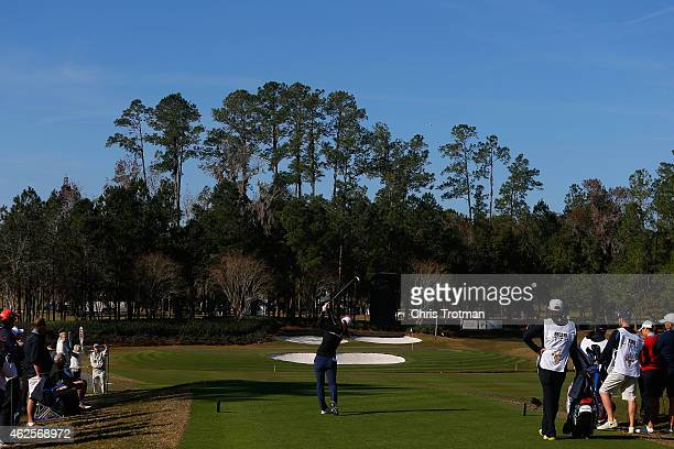 Beatriz Recari of Spain hits a tee shot on the 11th hole at the Coates Golf Championship Presented by RL Carriers Final Round at the Golden Ocala...
