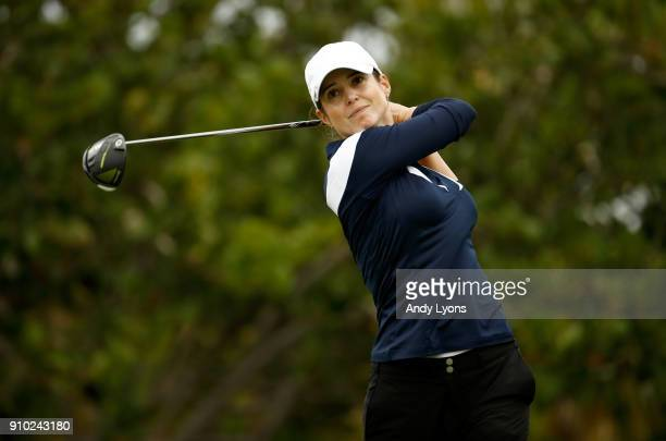 Beatriz Recari of Spain hits her tee shot on the 4th hole during the first round of the Pure Silk Bahamas LPGA Classic at the Ocean Club Golf Course...