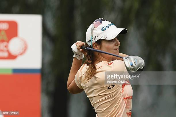 Beatriz Recari of Spain plays a tee shot during the third round of the Reignwood LPGA Classic at Pine Valley Golf Club on October 5 2013 in Beijing...