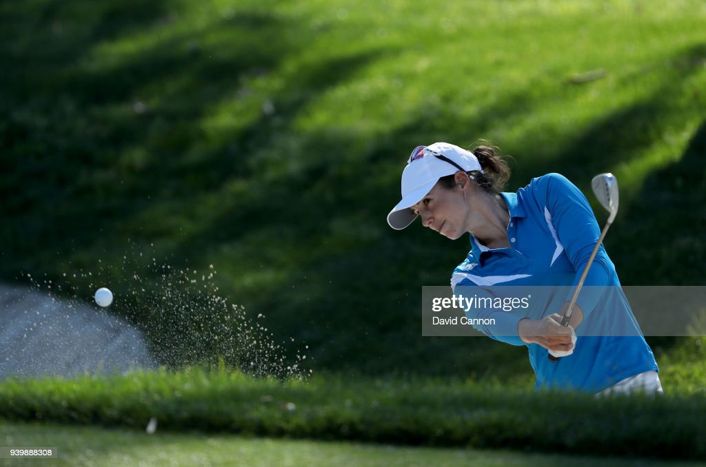 Beatriz Recari of Spain plays her second shot on the par 3, 17th hole during the first round of the 2018 ANA Inspiration on the Dinah Shore Tournament Course at Mission Hills Country Club on March 29, 2018 in Rancho Mirage, California.
