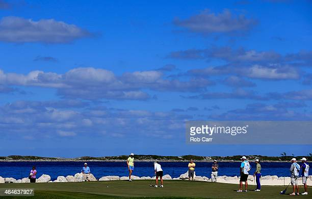 Beatriz Recari of Spain putts on the 15th green during round one of the Pure Silk Bahamas LPGA Classic at the Ocean Club course on January 23 2014 in...