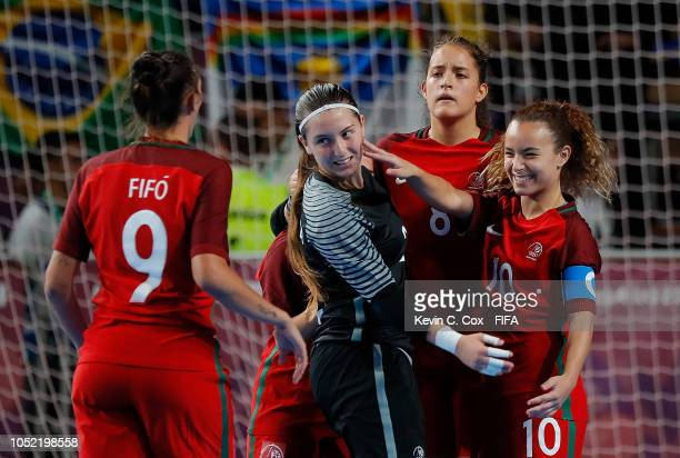 Beatriz Sanheiro of Portugal celebrates scoring the seventh goal against Bolivia in the Women's Futsal semifinal match between Portugal and Bolivia...