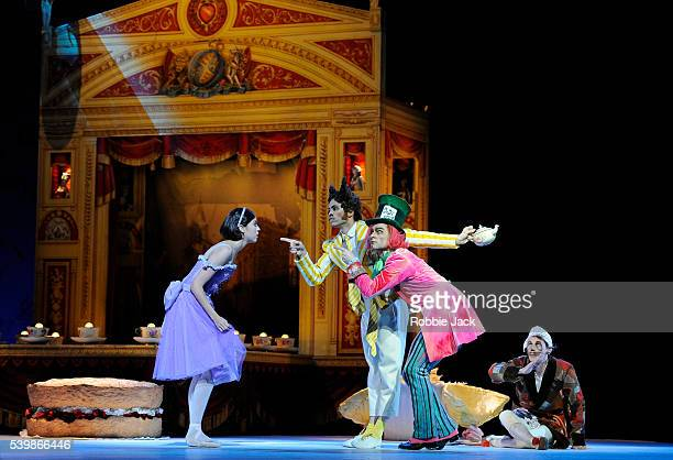 Beatriz StixBrunell as AliceRicardo Cervera as the March Hare Alexander Campbell as the Mad Hatter and James Wilkie as the Dormouse in the Royal...