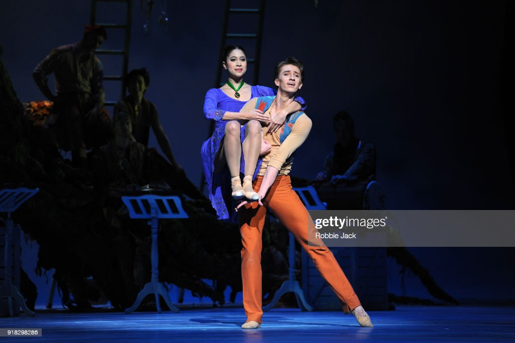 Beatriz Stix-Brunell as Perdita and Vadim Muntagirov as Florizel in the Royal Ballet's production of Christopher Wheeldon's The Winter's Tale at the Royal Opera House on February 12, 2018 in London, England.